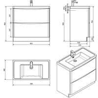Jupiter Bali Chestnut Finish 900mm 2 Drawer Floorstanding Vanity Unit With Polymarble Basin - FSC894